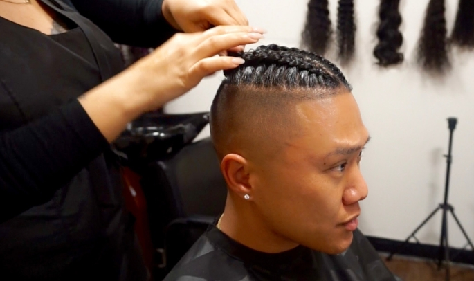 The Man Braid-Bun Process - Youtube with regard to Tim Fade Haircut